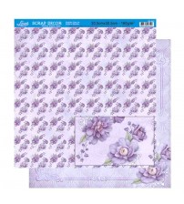 Litoarte - Double Face Scrap - Lilas Pattern Flowers