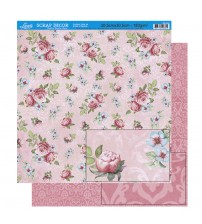 Litoarte - Double Faced Scrap -Various Flowers With Pink Background