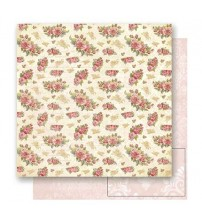 Litoarte - Double Faced Scrap - Roses & Letters Beige Background