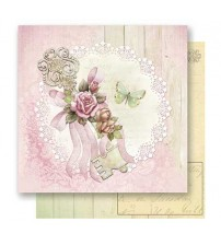 Litoarte - Double Faced Scrap - Keys With Flowers & Butterfly Rose Background