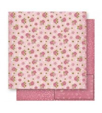 Litoarte - Double Faced Scrap - Roses & Daisies Pink Back Poa