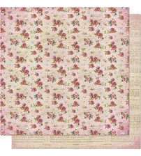 Litoarte - Double Faced Scrap - Vintage Roses Pattern/ Musical Notes