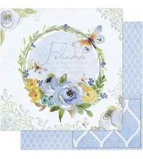 Litoarte - Double Faced Scrap -Guirlanda Floral Azul