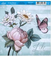 Litoarte  - Scrap Decor - Flowers & Borboleta Fundo Verde