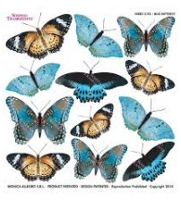 Sospeso Printed Plastic Sheet- Blue Butterfly