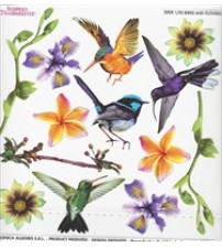 Sospeso Printed Plastic Sheet- Birds And Flowers